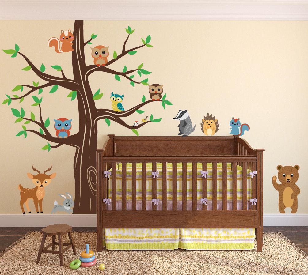 nursery-tree-decal-forest-animals-bear.jpg Woodland Animals Wall Tree Nursery Decal #1337 - InnovativeStencils