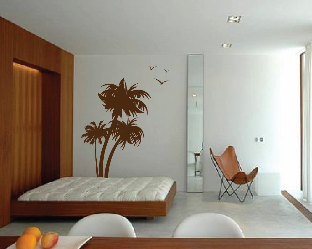 Three Palm Trees Vinyl Wall Decal With Seagulls