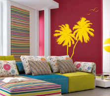Palm Coconut Tree Wall Decal with Seagull Birds (2 trees) #1133