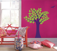 Large Wall Tree Nursery Decal Girl Room Decor with Leaves and Birds #1137
