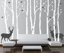 Birch Tree Winter Forest Set Vinyl Wall Decal #1161
