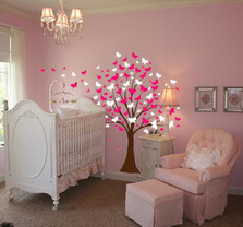 Large Wall Tree Baby Nursery Decal Butterfly Cherry Blossom #1139 & Butterfly Tree Nursery Wall Decal #1140 - InnovativeStencils