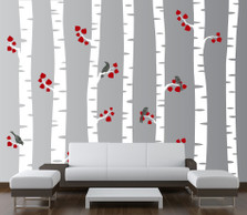 Birch Tree Decal with Birds and Fall Leaves #1192