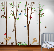 Birch Tree Forest Set with Deer and Flying Birds, Bambi and Squirrels Baby Giant Wall Sticker Decals #1221