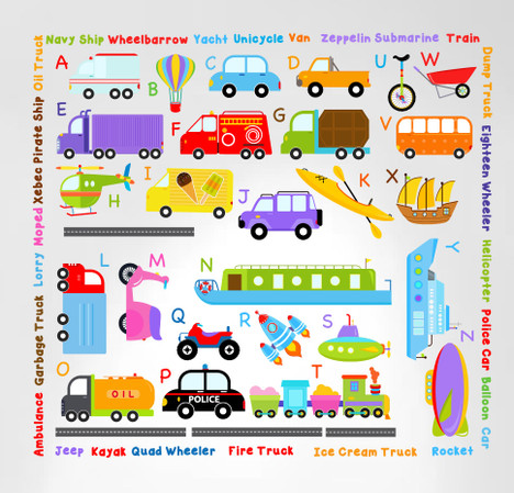 Transportation alphabet decals