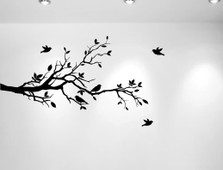 Tree Branches Wall Decal Love Birds Vinyl Sticker Nursery Leaves #1226