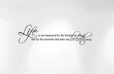 Life Is Not Measured By the Breaths We Take... Wall Decal Nursery Quote #1236