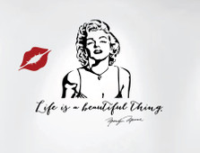 Life is a beautiful thing... Marilyn Monroe Wall Decal Quote with Silhouette and Lips #1238