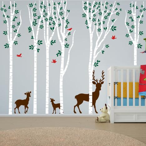 birch tree forest set vinyl nursery wall decal deer #1264