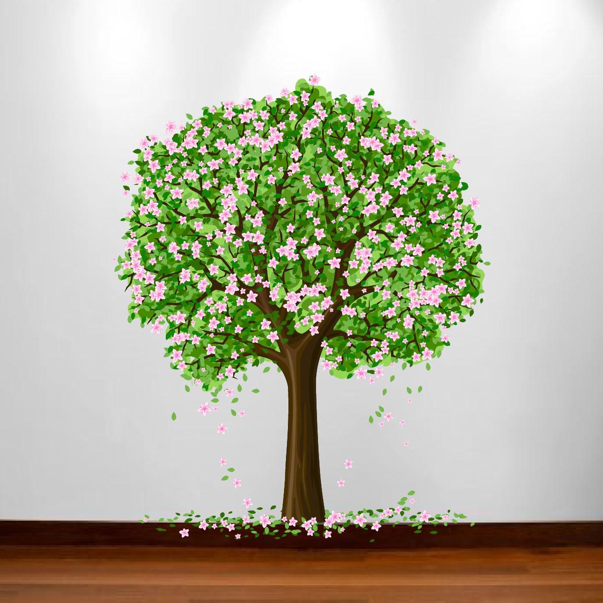 Large Nursery Tree Wall Blossom Leaf Decal Fruit Season