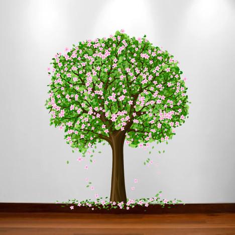 Large Nursery Tree Wall Blossom Leaf Decal Fruit Season Apple Sticker 1179