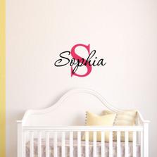 Custom Monogram Name Vinyl Wall Nursery Girl Decal #1291