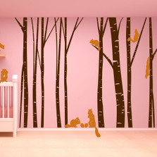 Birch Tree Forest Set Vinyl Wall Decal Nursert Art Squirrels #1230