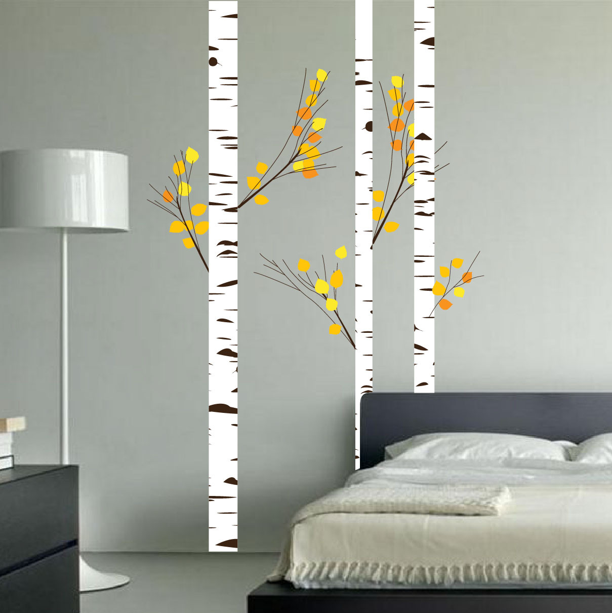 7fc56261f17 Birch Tree Forest Set Vinyl Wall Decal Realistic Leaves  1273 ...
