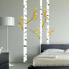 Birch Tree Forest Set Vinyl Wall Decal Realistic Leaves #1273