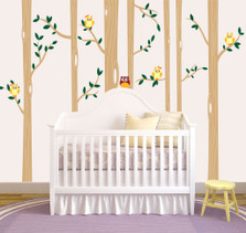 Birch Tree Forest Set Vinyl Wall Decal Owls Nursery #1321