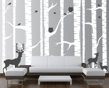 Birch Tree Forest Set Vinyl Wall Decal Owls Deer #1323