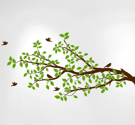 Tree Branches Wall Decal Birds Vinyl Sticker Nursery