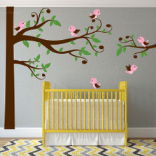 Swirly Tree Nursery Wall Decal Birds #1329