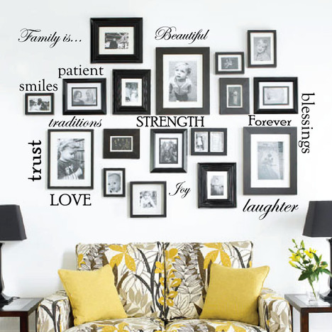 Set of 12 Family Quote Words Vinyl Wall Sticker Picture Frame Wall ...