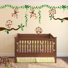 Monkey Jungle Tree Vine Forest Wall Decal Safari Birds Sticker Set #3018