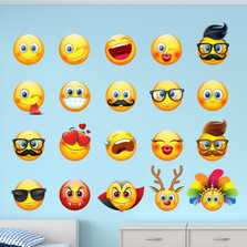Large Emoji Emoticon Faces Peel and Stick Fabric Wall Decal Sticker Seasonal Removable and Reusable Set of 20