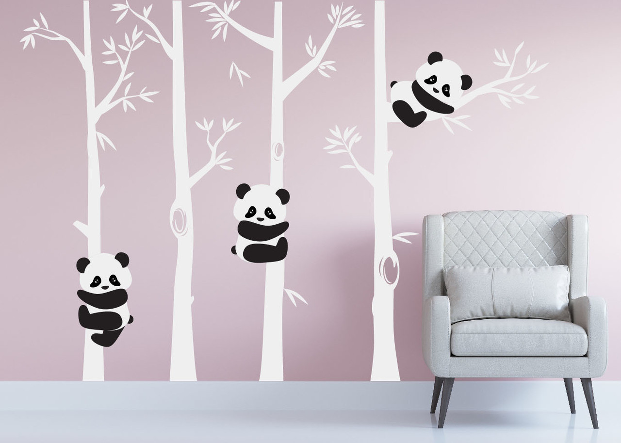 Panda Bear Bamboo Tree Wall Nursery Decal #1350 - InnovativeStencils