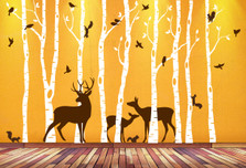 Birch Tree Animal Forest Mural Vinyl Wall Decal with Deer Family Birds Squirrels #1362