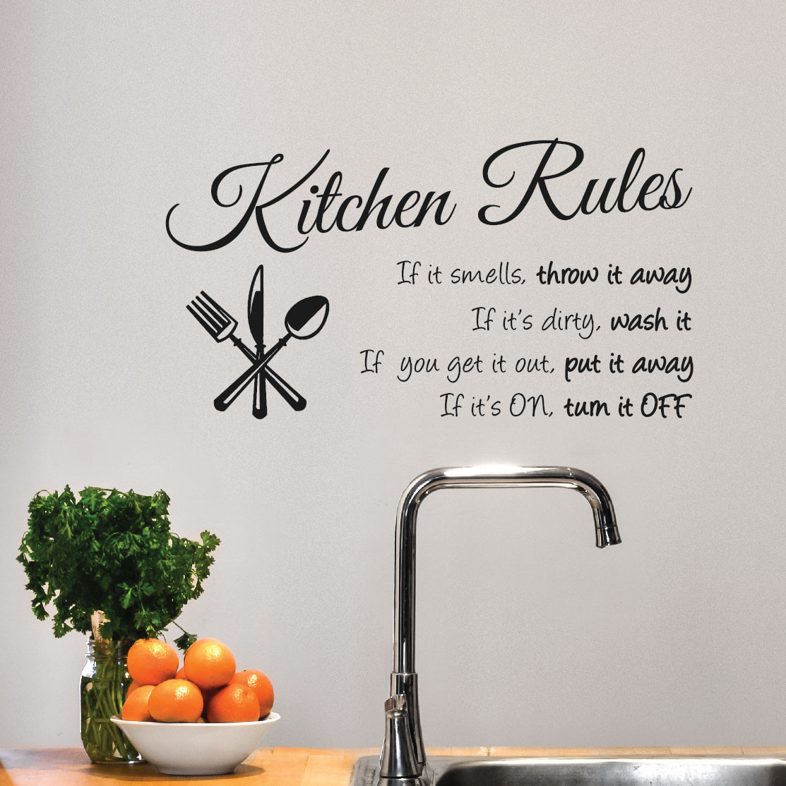 Kitchen Rules Sign Wall Decal Sticker 1364