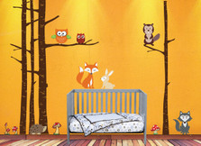 Birch Tree Woodland Forest Set Animals Vinyl Wall Decal #1368