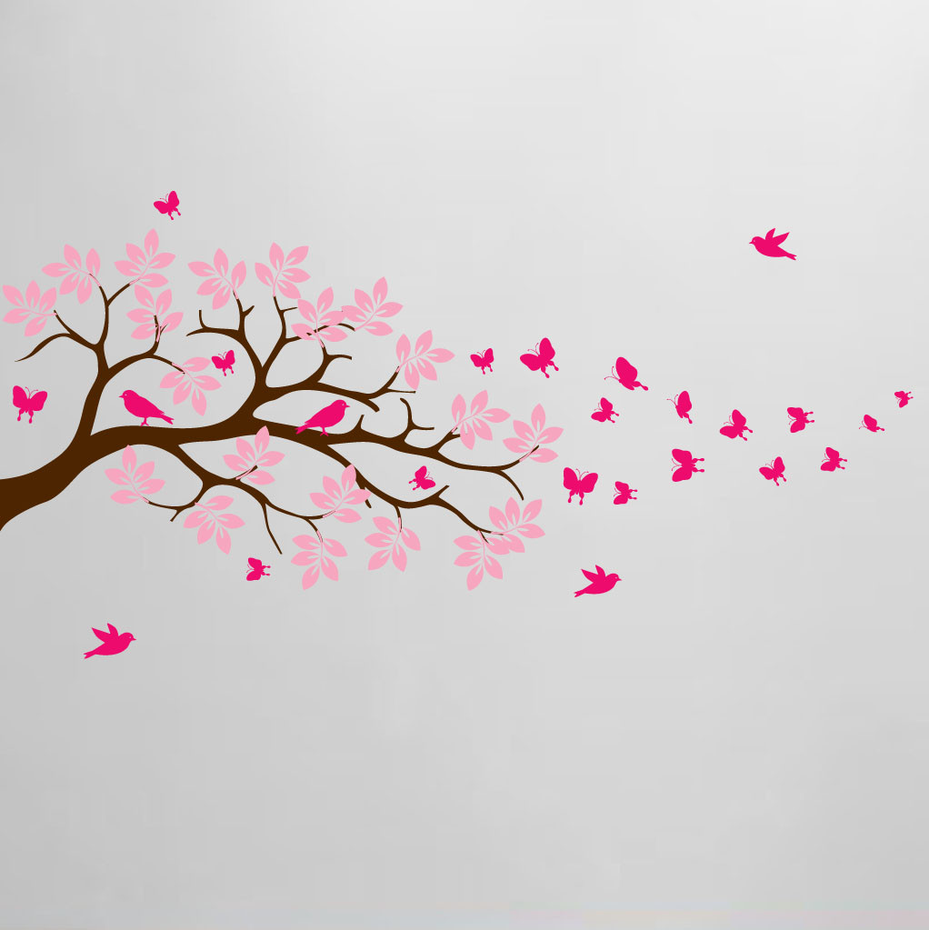 115bc9029d Tree Branch Wall Decal Butterfly Birds Vinyl Sticker Nursery Leaves #1371.  Image 1. Loading zoom