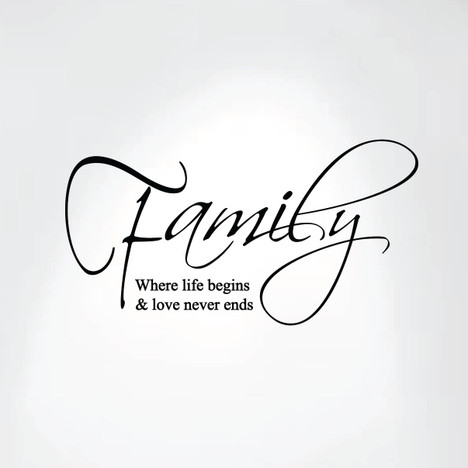 family where life begins and love never ends wall decal art saying
