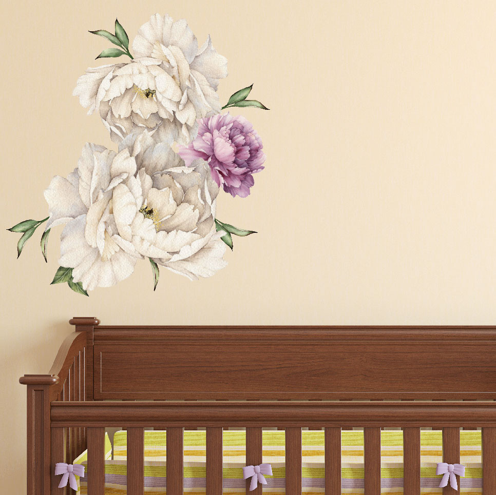 Peony Flowers Vintage Bouquet Wall Decal Sticker Peel And Stick