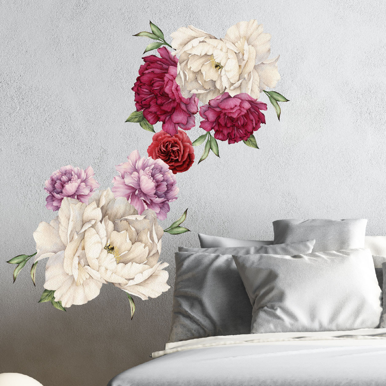 Peony Flowers Vintage Bouquet Wall Decal Sticker Peel and Stick Floral Art  Decor Removable and Reusable 7 Flowers
