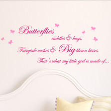 Butterfly Cuddles and Hugs Fairytale Girl Quote Vinyl Wall Decal #1479