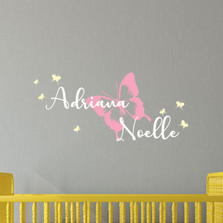 Custom Butterfly Name Vinyl Wall Decal #1478