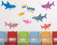 Baby Shark Family Wall Decals #1493