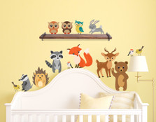 Forest Animals Wall Decals Peel and Stick Bear, Fox, Owl, Bunny, Raccoon Birds Fabric Reusable Stickers Nursery Decor #1408