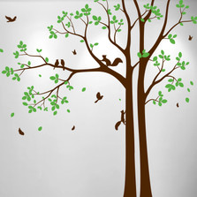 Aspen Tree Decal with  Leaves Birds and Squirrels #1472