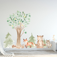 Woodland Watercolor Tree Wall Decal Oak Pine Animal Set - Bear, Fox, Raccoon, Rabbit, Squirrel, Porcupine #3061