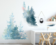 Watercolor Pine Forest Wall Decal Tree Fabric Nursery Woodland Decal Set, Peel and Stick 10 Decals included #3082