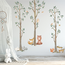 Woodland Watercolor Wall Tree Decals Fabric Animal Birch Creatures - Bear, Fox, Raccoon, Rabbit, Squirrel, Owl Nursery Décor #3115