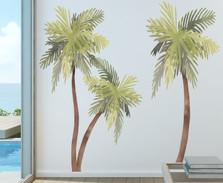 Palm Tree Watercolor Wall Decal Beach House Art Décor Sticker Tropical Print Bird Seagulls Included #3123