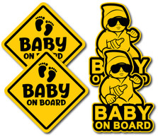 """Baby On Board Decals Stickers Signs for Car - 4 Pack - 5"""" x 5"""" - 6 Year Outdoor Durability"""