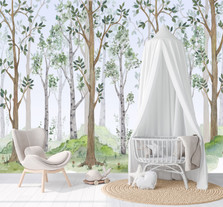 Watercolor Birch Tree Forest Wallpaper Self Adhesive Nursery Décor Fabric Woodland Decal Removable Reusable - Custom Sizes