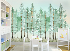 Watercolor Pine Forest Trees Wallpaper Self Adhesive Nursery Décor Fabric Woodland Evergreen Cedar Decal Removable Custom Sizes Mural