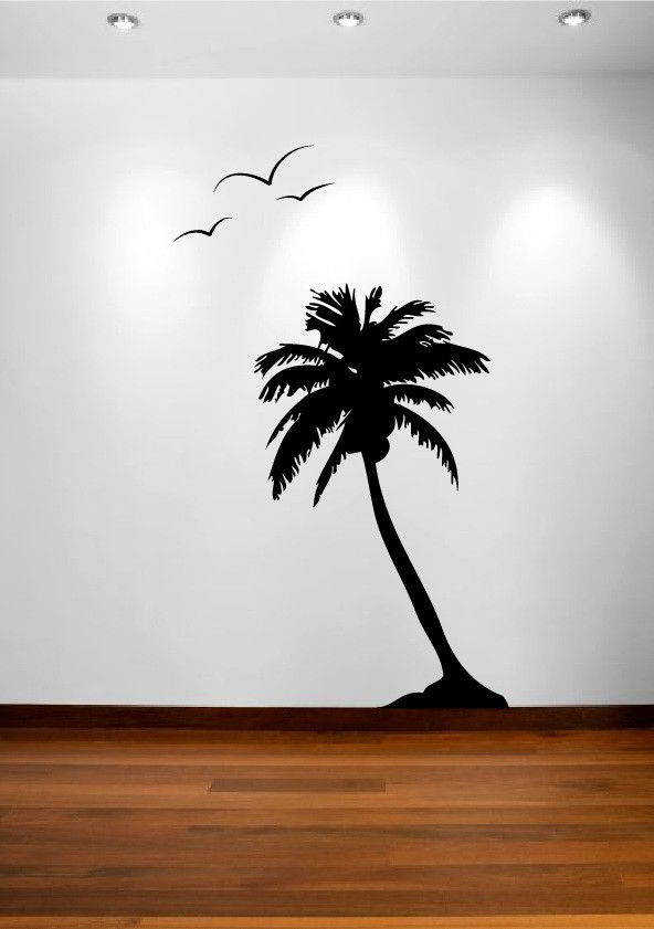 palm coconut tree wall decal 1107 innovativestencils. Black Bedroom Furniture Sets. Home Design Ideas