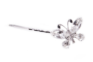 HAIR STICK LONG 11776T Butterfly Metal Swarovsky Crystals