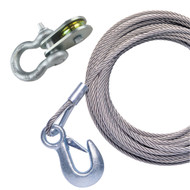 """Powerwinch 25' x 7\/32"""" Stainless Steel Universal Premium Replacement Galvanized Cable w\/Pulley Block"""