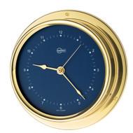 """BARIGO Regatta Series Quartz Ship's Clock - Brass Housing - Blue 4"""" Dial"""
